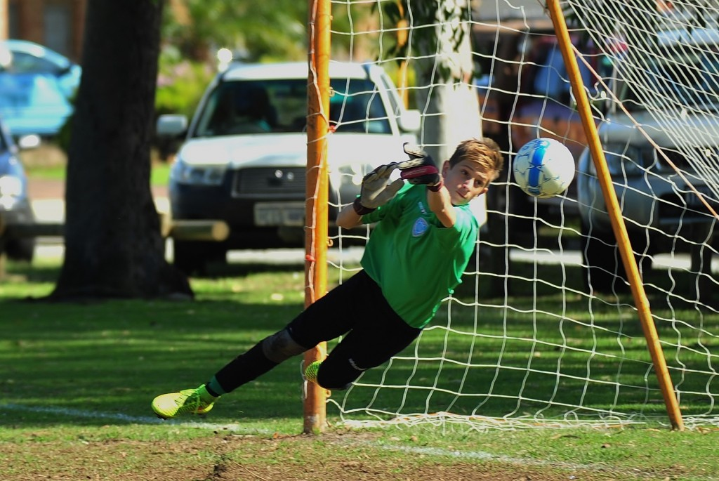 Dudley Robinson Youth Grant recipient Sebastian Bell saving a goal when Perth SC played ECU Joondalup at Jubilee Reserve in the WA Cup round in August 2014.